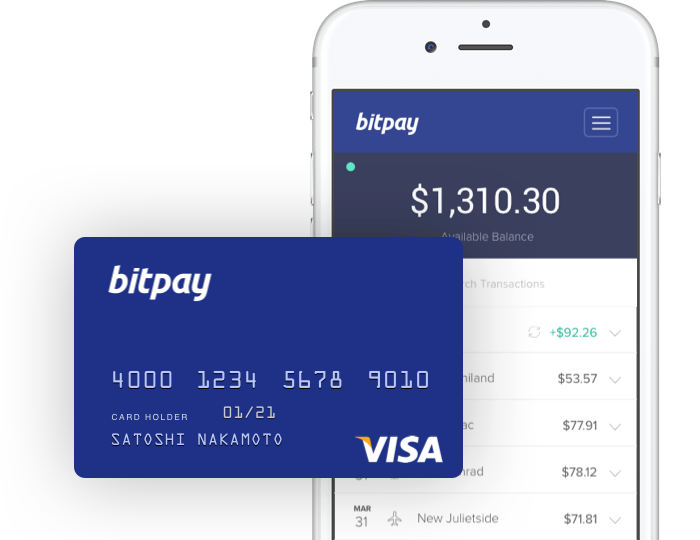 App para móviles de Visa Bitpay