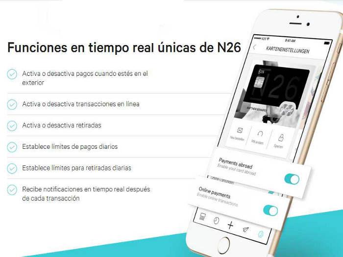 N26, funciones en tiempo real