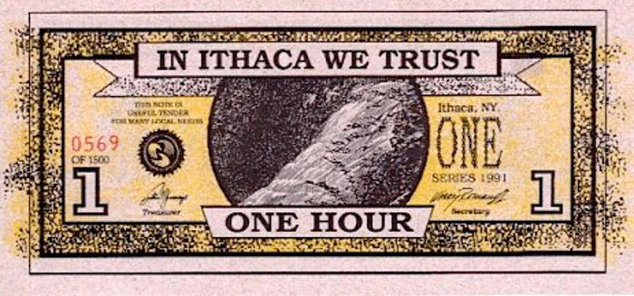 Billete de Ithaca Hours, banco de tiempo en Nueva York.
