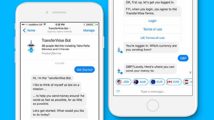 transferencias internacionales a través de Facebook Messenger con un chatbot de Transferwise